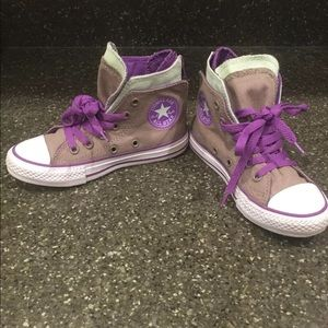Converse high top purple gray mint sneakers 12 EUC